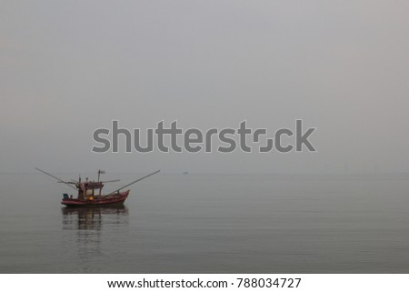 Fishing boats on the sea in the Fog,thailand,copy space #788034727