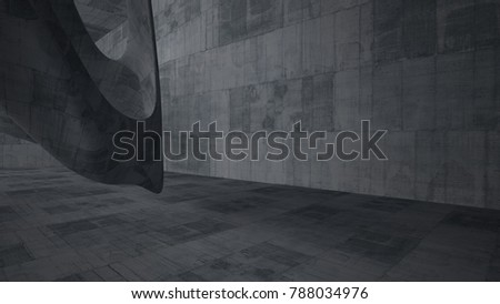 Empty dark abstract concrete smooth interior . Architectural background. 3D illustration and rendering #788034976