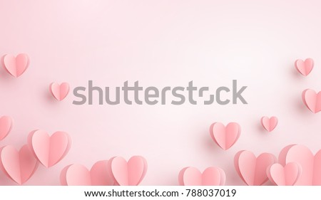 Paper elements in shape of heart flying on pink background. Vector symbols of love for Happy Women's, Mother's, Valentine's Day, birthday greeting card design. Royalty-Free Stock Photo #788037019