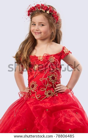 Girl in a red dress on a purple background #78806485