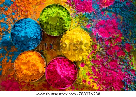 Organic Gulal colors in bowl for Holi festival Royalty-Free Stock Photo #788076238