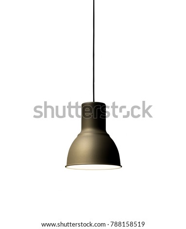 Black decorative lamp hanging from the ceiling.modern lamp isolated on white background #788158519