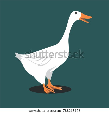 Beautiful White Goose Vector Illustration. The Biggest Water Bird that Can Fly. Has a Pure White Fur. The Largest Species of Geese, Namely White Goose, Goose Trumpet, and Whooper Goose
