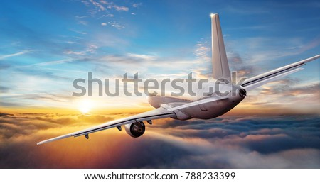 Commercial airplane jetliner flying above clouds in beautiful sunset light. Travel and business concept. Backside view #788233399