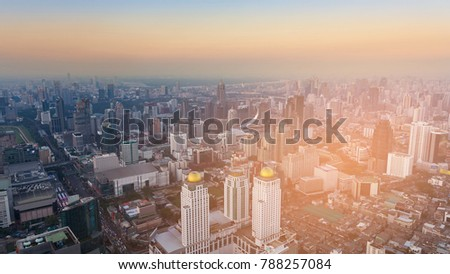 Top view Bangkok city downtown with sunset skyline, cityscape background #788257084
