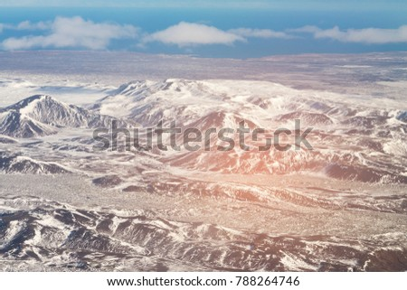 Aerial view Iceland mountaing landscpe winter season, natural landscape background #788264746