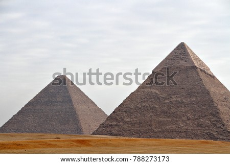 Panoramic view of the ancient Great Pyramids of Giza, located near Cairo, Egypt. #788273173