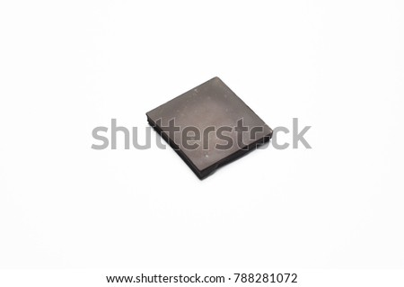 one isolated dark chocolate pieces healthy sweets concept high percent chocolate #788281072