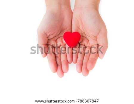 Female hands giving red heart on white background, Two hands with red heart in the middle. #788307847
