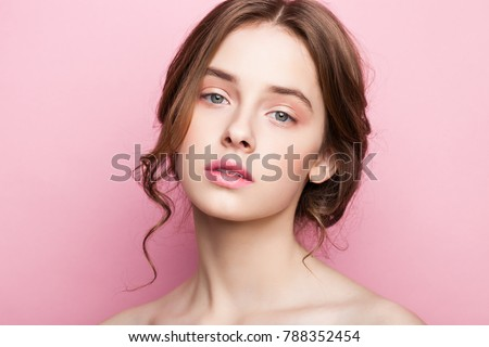 Beauty cute fashion model with natural make up on pink background #788352454