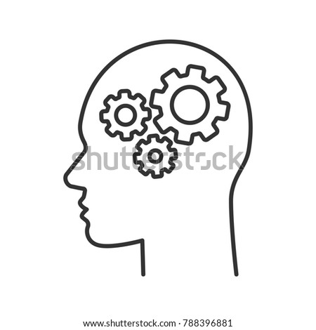 Human head with cogwheels inside linear icon. Artificial intelligence. Technology progress. Thin line illustration. Robot. Contour symbol. Raster isolated outline drawing