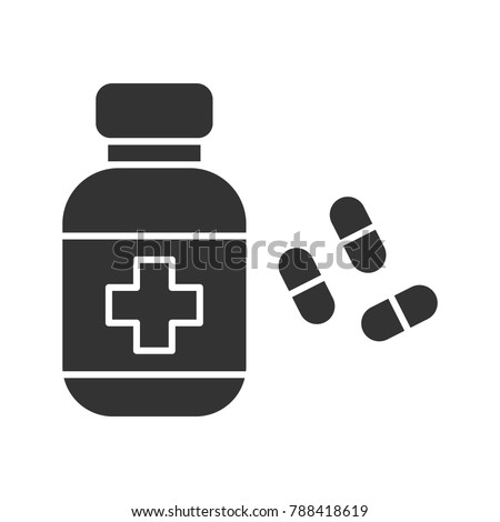 Pills bottle glyph icon. Silhouette symbol. Drugs. Negative space. Raster isolated illustration