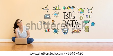 Big Data text with young woman using a laptop computer on floor #788467420