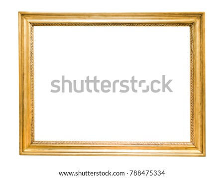 Gold decorative picture frame isolated on white background with clipping path #788475334