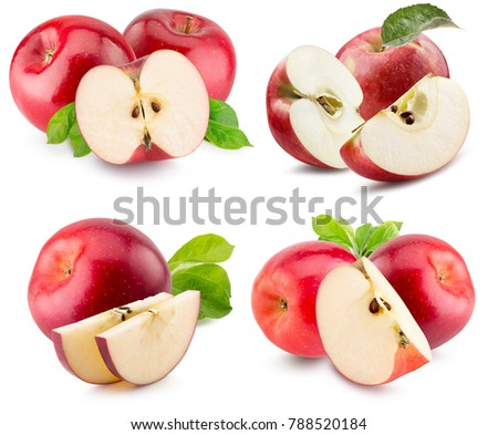 collection of red apples with slices isolated on a white background #788520184