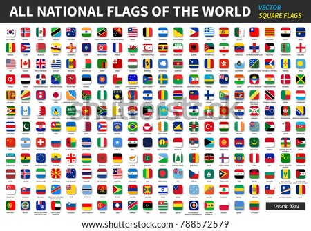 All official national flags of the world . Square design . Vector . #788572579