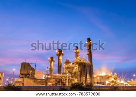 Gas turbine electric power plant at night This plant is support all factory #788579800