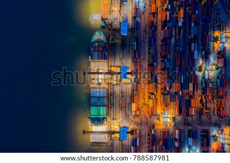 Aerial view of Containers yard shot from drone in port congestion with ship vessels are loading and discharging operations of the transportation in international port.Shot from drone. #788587981