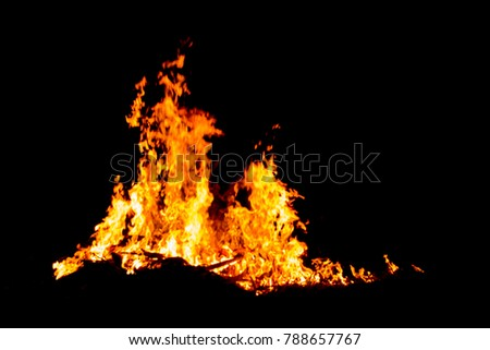 Bonfire blur silhouette Black background light. at phuket Thailand #788657767