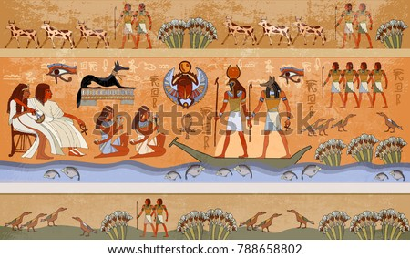 Ancient Egypt scene, mythology. Egyptian gods and pharaohs. Murals hieroglyphic carvings on the exterior walls #788658802