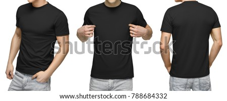 Young male in blank black t-shirt, front and back view, isolated white background with clipping path. Design men tshirt template and mockup for print. #788684332