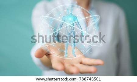 Businesswoman on blurred background using digital x-ray human body scan interface 3D rendering #788743501