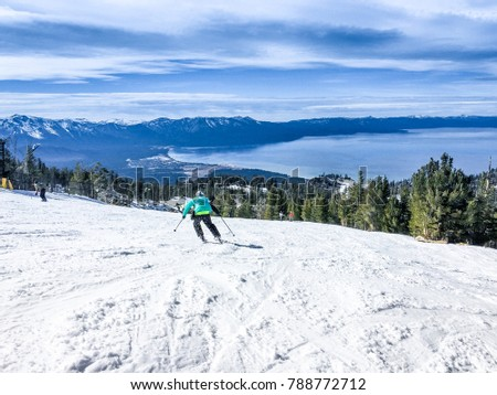 Famous Lake Tahoe winter landscape seen from ski resort #788772712