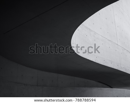 Architecture details Cement curve shape Modern building Futuristic Space Abstract background #788788594