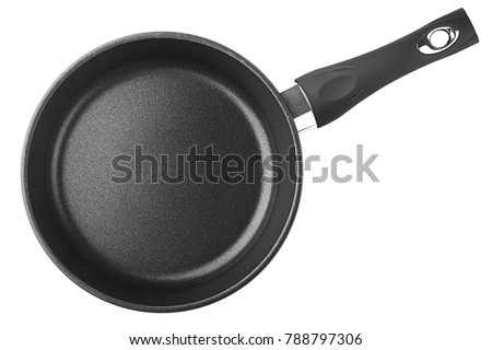 black fry pan, skillet, clipping path, isolated on white background #788797306