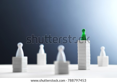 Hierarchy, power, management and leadership concept. Being unique and the best. Dominance, victory and winning challenge. Beat competitors. One different on better, higher level. Negative copy space. #788797453