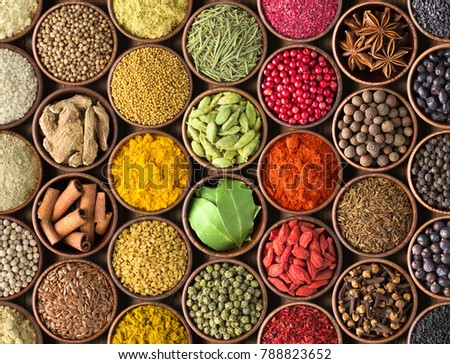 Colored spice background. Spices and herbs top view #788823652