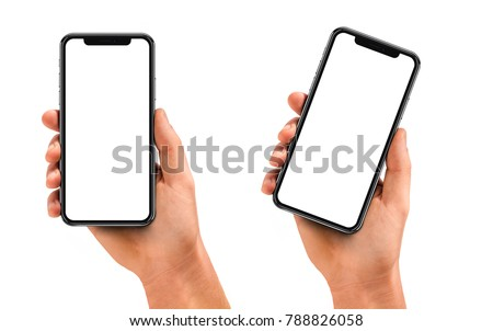 Man hand holding the black smartphone with blank screen and modern frame less design - isolated on white background #788826058