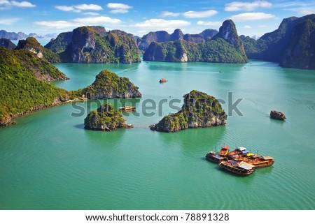Picturesque sea landscape. Ha Long Bay,  Vietnam Royalty-Free Stock Photo #78891328