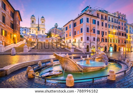Spanish Steps in the morning, Rome, Italy at twilight #788996182