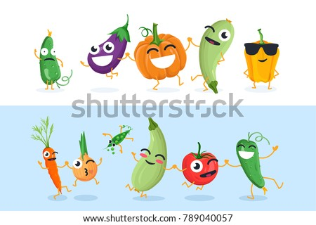 Funny vegetable characters - set of vector isolated illustrations on white and blue background. Cute cucumber, eggplant, pumpkin, onion, tomato, peas. High quality collection of cartoon emoticons #789040057