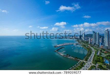 Aerial View from Panama City in Panama.View to Casco Viejo and entrance to the Panama Canal #789059077