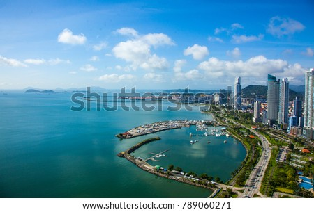 Aerial View from Panama City in Panama.View to Casco Viejo and Panama Canal #789060271