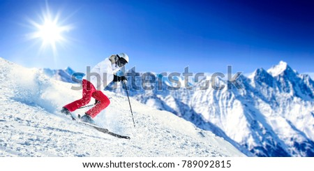 Winter skier and landscape of mountains  #789092815