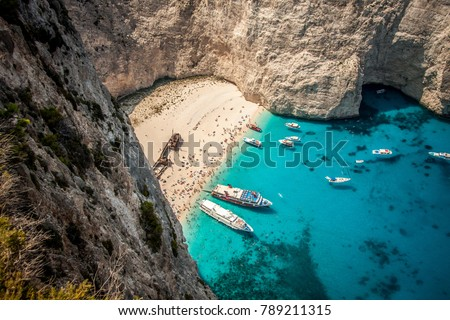 The shipwreck on the island of Zante. The view from the observation deck. Zakyntos, Greece