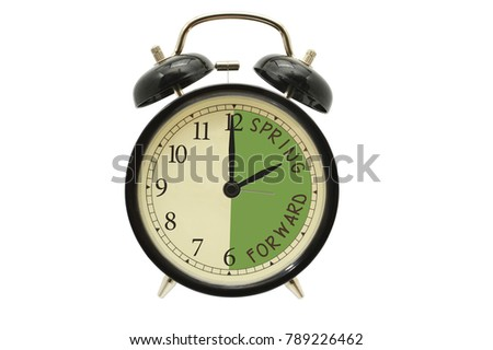 2 o'clock Spring Forward alarm clock white background #789226462