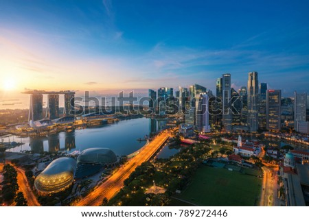 Aerial view of Singapore business district and city at twilight in Singapore, Asia. #789272446