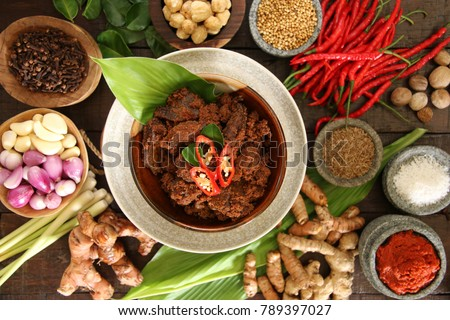 Rendang Padang. Spicy beef stew from Padang, Indonesia. The dish is arranged among the spices and herbs used in the recipe. #789397027