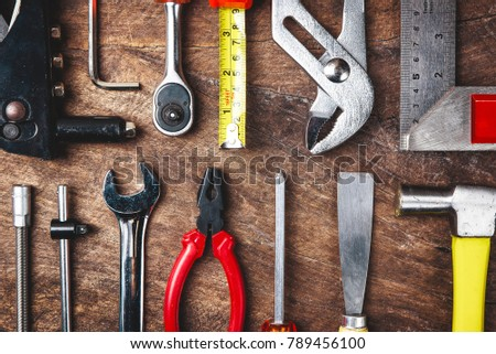 Top view of Working tools on wooden background.flat lay design for construction concept. #789456100