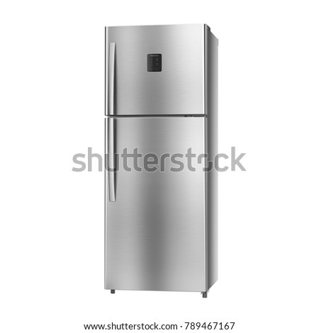 Double Door Refrigerator Isolated on White Background. Side View of Side-by-Side Stainless Steel Top Mount Fridge Freezer. Electrical Kitchen and Domestic Appliances #789467167