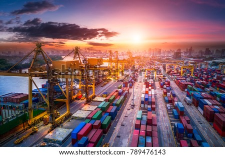 Logistics and transportation of Container Cargo ship and Cargo plane with working crane bridge in shipyard at sunrise, logistic import export and transport industry background #789476143