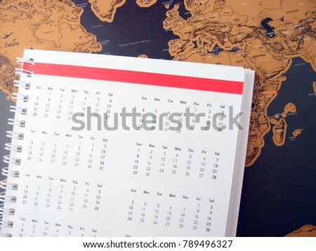 Copy space on new year travel schedule notebook decorate with vintage hipster lifestyle
