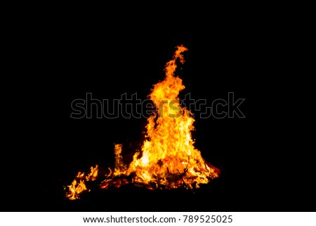 Bonfire blur silhouette Black background light. at phuket Thailand #789525025