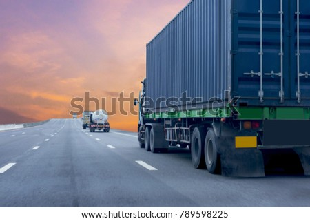 Truck on road container, transportation concept.,import,export logistic industrial Transporting Land transport on the expressway #789598225