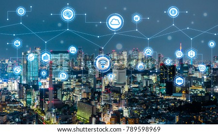 Smart city concept. IoT(Internet of Things). ICT(Information Communication Technology). Royalty-Free Stock Photo #789598969