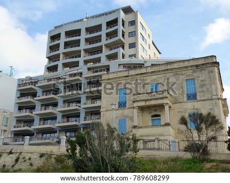 St. Paul's Bay, Malta / Malta - November 2017: British house in the waterfront of St. Paul's Bay in Malta #789608299